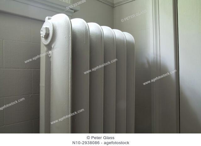 Old radiator in a bathroom