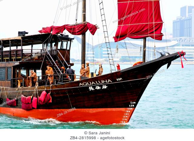 Junk Boat, Victoria Harbour, Hong Kong Island, Hong Kong, China, East Asia