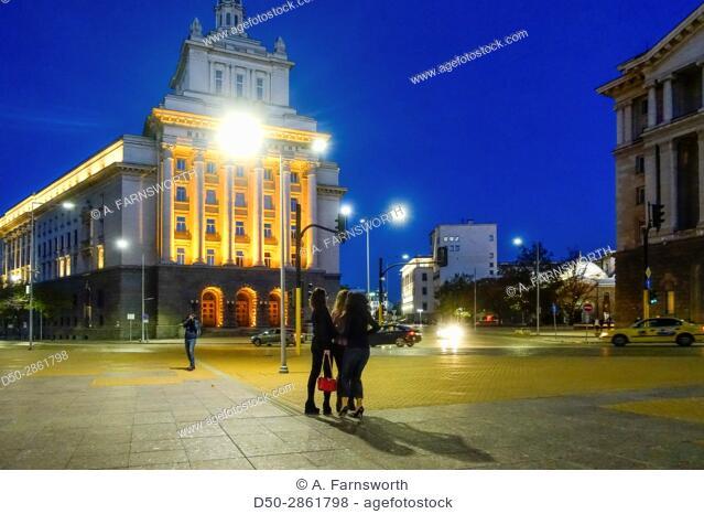 SOFIA BULGARIA Graduation party on central square. Nyyaz Aleksandar 1 street, Serdika subway station