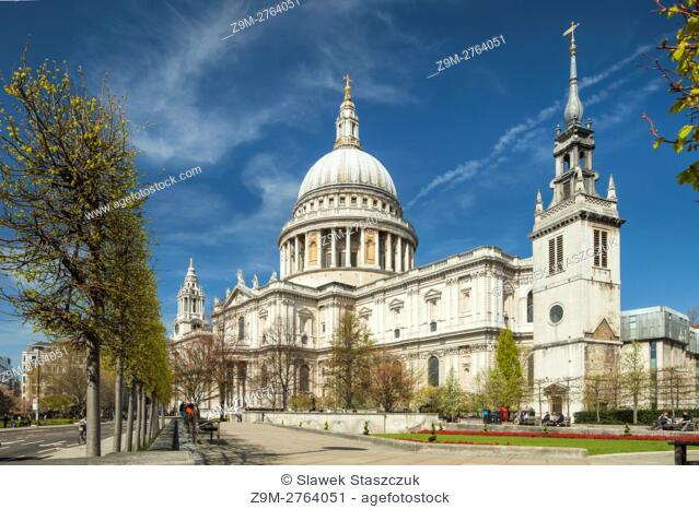 Spring day at St Paul's cathedral in City of London, England