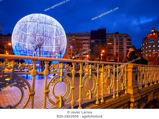 Christmas ornament, Paseo de La Concha, Hotel Londres, Donostia, San Sebastian, Gipuzkoa, Basque Country, Spain, Europe