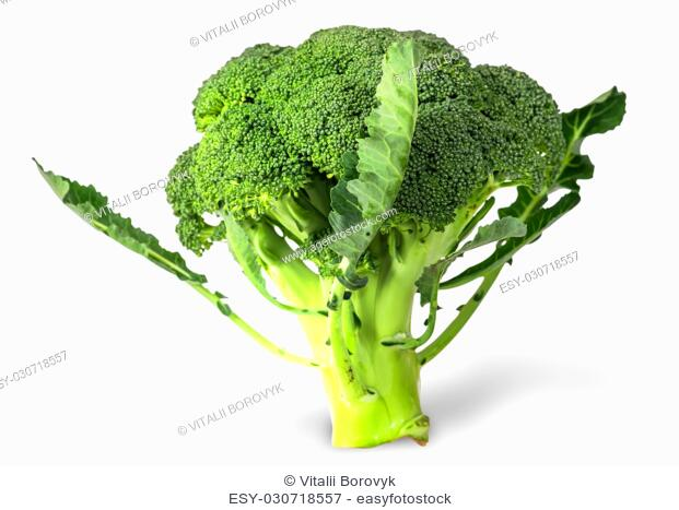Large inflorescences of fresh broccoli with leaves isolated on white background