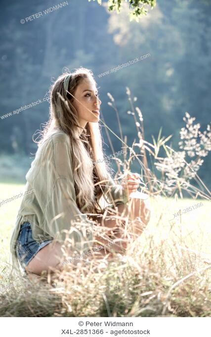 Young girl in autumn forest, Vienna, Austria (model-released)