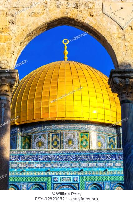 Dome of the Rock Islamic Mosque Temple Mount Jerusalem Israel. Built in 691 One of most sacred spots in Islam where Prophet Mohamed ascended to heaven on an...