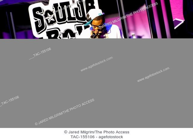 Rapper Soulja Boy Tell 'Em performs on the America's Most Wanted Tour at the Gibson Amphitheatre in Los Angeles
