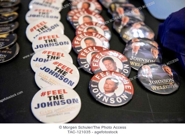 Buttons, hats and t-shirts for sale outside the Johnson/Weld rally in the downtown Seattle Sheraton on September 17, 2016 in Seattle, WA