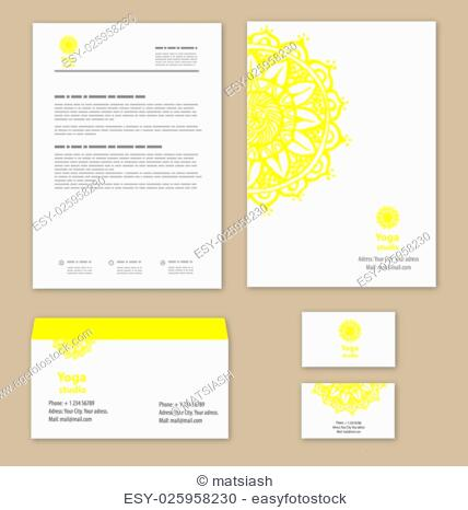 Template corporate style with a round ornament, for yoga studios