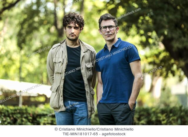 Actor Louis Garrel with the Director Michel Hazanavicius during the photocall of the film Redoubtable. Rome, Italy 18/10/2017