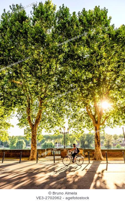 Biking in Quai de Tounis, Toulouse (Haute-Garonne Department, Midi-Pyrénées Region, France)