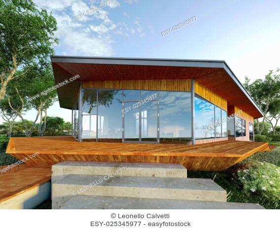 Modern villa made of wood and steel, with green park around. on a large wood platform