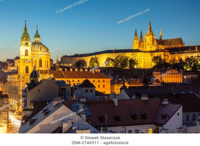 Night falls in Mala Strana (Lesser Town), Prague, Czech Republic. Hradcany in the distance