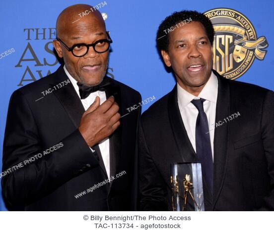 Samuel L. Jackson and Denzel Washington attends the 31st Annual ASC Awards for Outstanding achievement in Cinematography at Loews Hollywood Hotel Ray Dolby...