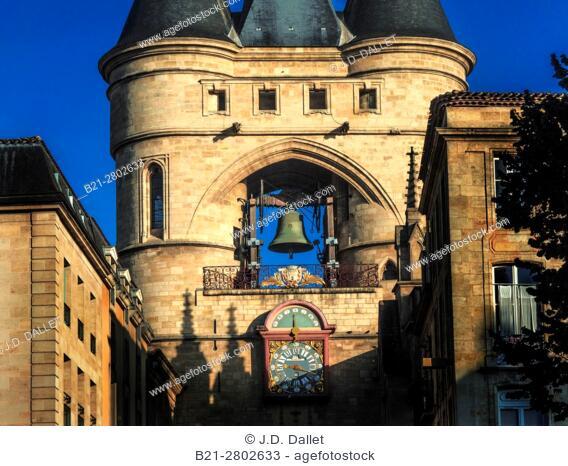 """France, Nouvelle Aquitaine-Gironde- """"""""Grosse Cloche"""""""" on Saint Eloï's gate at Bordeaux. Pilgrimage way to Swantiago de Compostela"""