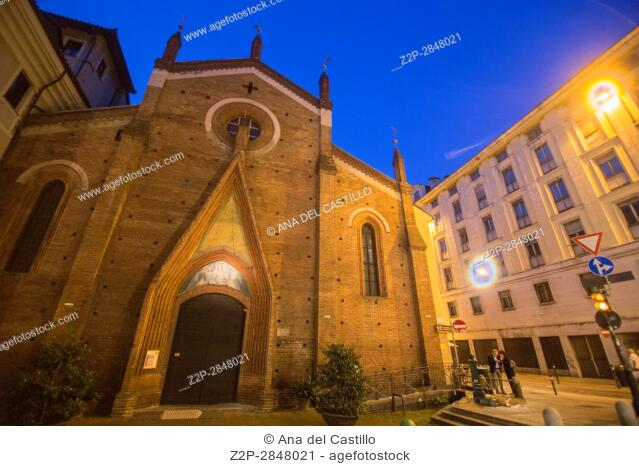 Turin in Piedmont on September 2016 in Italy. St Domenico church by night