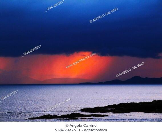 Impressive Sundown during a thunderstorm in Mallaig, Scotland, UK