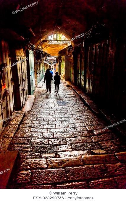 Old Stone Street Jewish Quarter Old City Jerusalem Israel