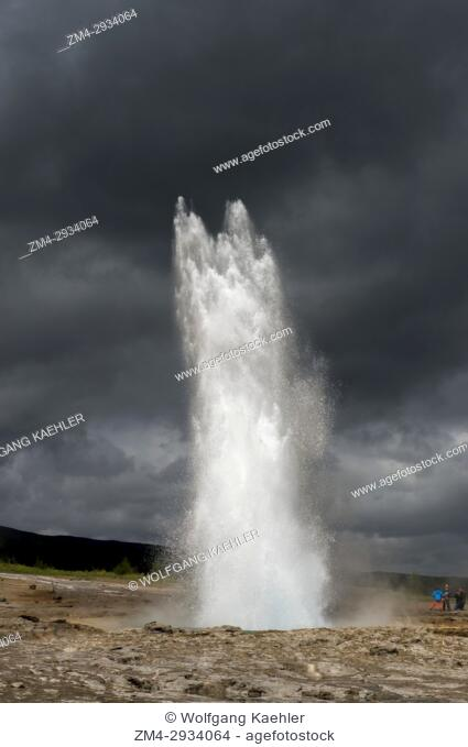 A sequence of the eruption of Strokkur, one of IcelandÂ's most famous geysers, located in the geothermal area beside the Hvita River, in southwest Iceland