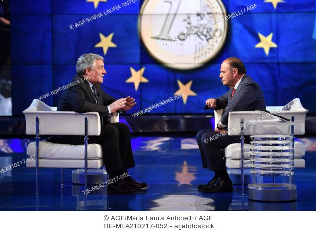 President of European Parliament Antonio Tajani during the interview with Bruno Vespa at tv show Porta a porta, Rome, ITALY-20-02-2017