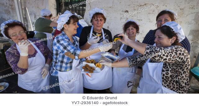 Cooks of the party of 1st Day of Honey Cane in Frigiliana. Frigiliana, Andalusia, Spain, Europe