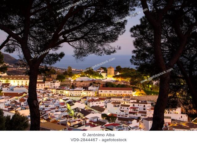 White village of Mijas at dusk. Malaga province Costa del Sol. Andalusia Southern Spain, Europe