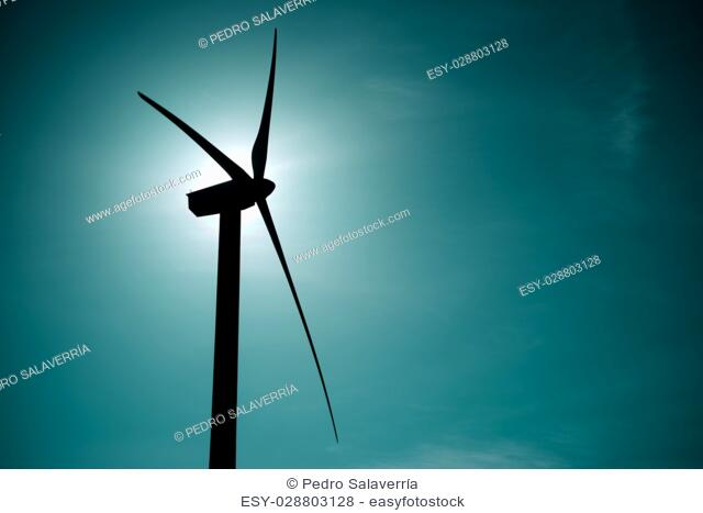 Windmill for electric power production at sunset, Zaragoza Province, Aragon, Spain