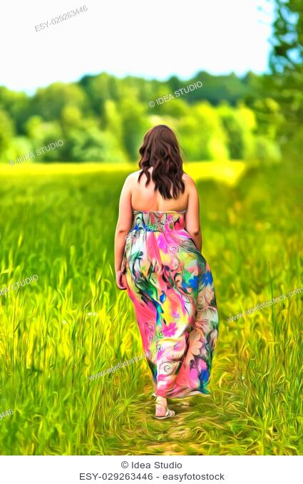 View from back of a woman in a long dress walking the field colorful painting