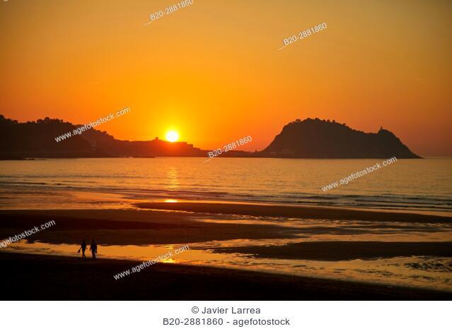 Sunset from the Restaurant Karlos Arguiñano, Zarautz, Getaria in the background, Gipuzkoa, Basque country, Europe
