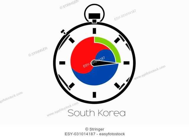 A Stopwatch with the flag of South Korea
