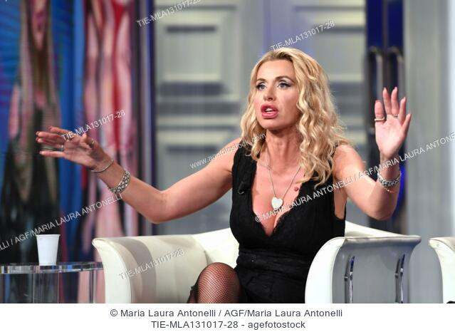 The showgirl Valeria Marini during the tv show Porta a porta about the scandal on the producer Harvey Weinstein, Rome, ITALY-12-10-2017