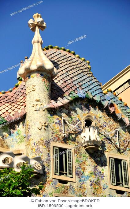 Facade Of The Casa Batllo By Most Famous Spanish Architect Antoni Gaudi In A Modernist Style Barcelona Spain Iberian Peninsula Europe