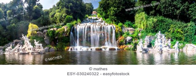 Artificial waterfall and statues at the garden of Palace of Caserta in southern Italy