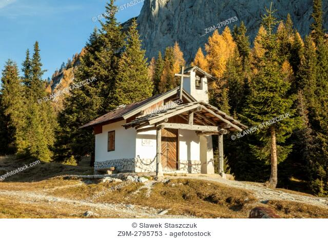 Autumn morning in the Dolomites near Sorgenti del Piave mountain shelter, Veneto, Italy