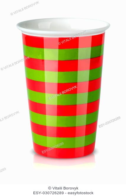 Red and green striped cup without handle isolated on white background