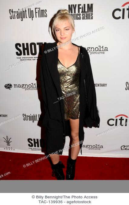 Kaya Stewart arrive for the Premiere Of 'SHOT! The Psycho-Spiritual Mantra of Rock' held at Pacific Theatres in Los Angeles, California at The Grove on April 5