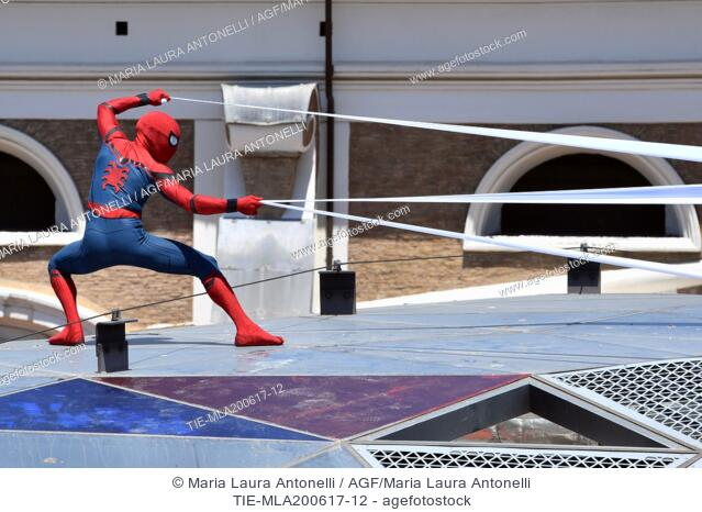 Spiderman performance on the roofs of Rome during the photocall of the film Spider Man: Homecoming. Zuma terrace, Rome, Italy 20-06-2017