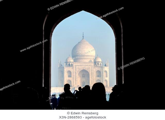 View of the Taj Mahal from the main complex entrance, located in Agra, India