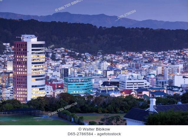 New Zealand, North Island, Wellington, city skyline from the Wellington Botanic Gardens, dusk