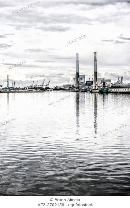 Power plant located in the port of Le Havre (department of Seine-Maritime, region of Normandie, France)
