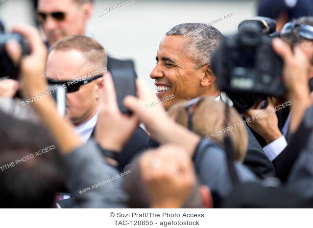 United State President Barack Obama greets people at the Seattle-Tacoma International Airport on June 24, 2016 in Seattle, Washington