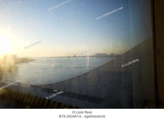 Port seen from a ferry boat. Mediterranean Coast, Palma, Majorca, Balearic Islands, Spain
