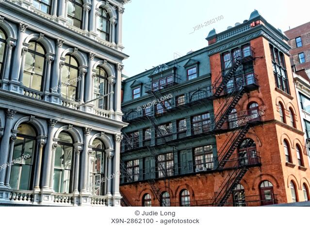 New York, NY. Looking up at Historic Cast Iron Buildings on Lower Broadway