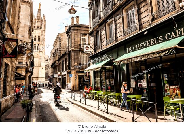 Terrace in Loup Street near Cathedral of Saint-André, Bordeaux (department of Gironde, region of Aquitaine-Limousin-Poitou-Charentes , France)