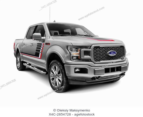 Gray 2018 Ford F-150 Lariat pickup truck isolated on white background with clipping path