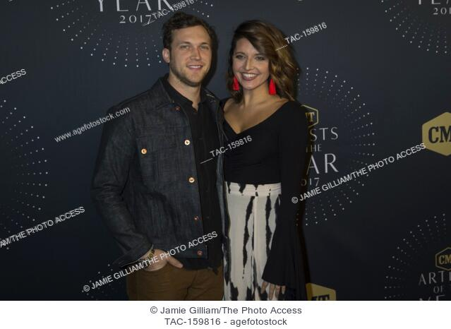 NASHVILLE, TN - Phillip Phillips and wife Hannah arrive on the red carpet at the 2017 CMT Artists of the Year at the Schermerhorn Symphony Center in Nashville