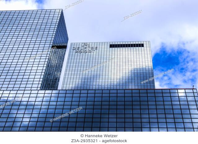 Sky reflected in the 'Delfse Poort', modern architecture in Rotterdam, the Netherlands, Europe
