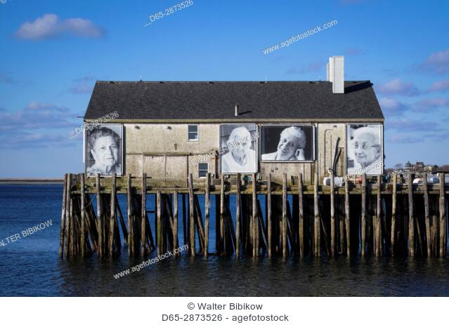 USA, Massachusetts, Cape Cod, Provincetown, Provincetown Pier, photos of fishermen's wives