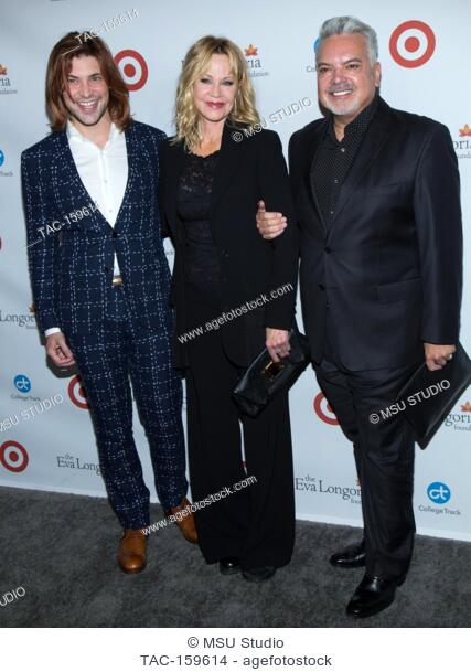 Melanie Griffith and two guests attend the 6th Annual Eva Longoria Foundation Dinner at Four Seasons Hotel Los Angeles at Beverly Hills on October 12