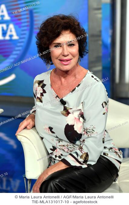 The actress Corinne Clery during the tv show Porta a porta about the scandal on the producer Harvey Weinstein, Rome, ITALY-12-10-2017