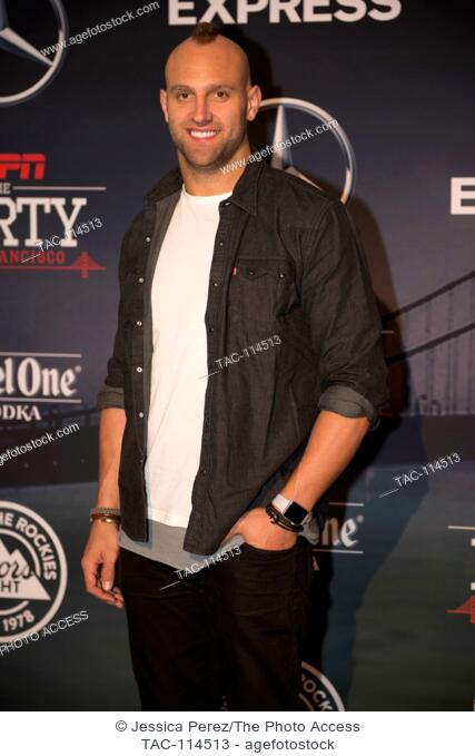 Mark Herzlich arrives at ESPN The Party at Fort Mason on February 5th, 2016 in San Francisco, California