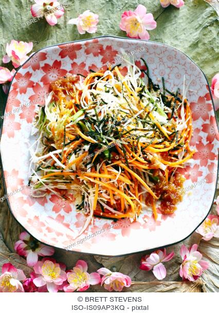 Still life with dish of Japanese shredded cabbage salad